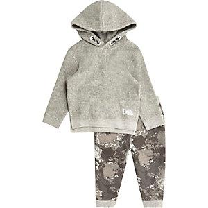 Mini boys grey fleece hoodie and jogger set