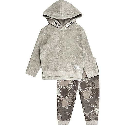 Mini boys grey fleece hoodie and jogger set