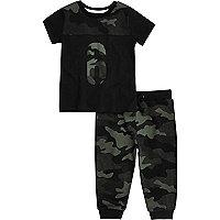 Mini boys khaki camo T-shirt joggers set