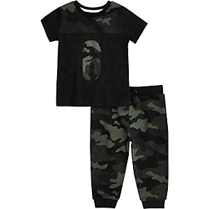 Mini boys khaki camo T-shirt joggers set