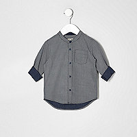 Mini boys navy textured grandad shirt