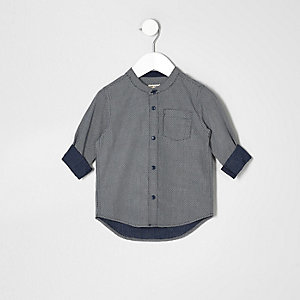 Mini boys textured grandad shirt