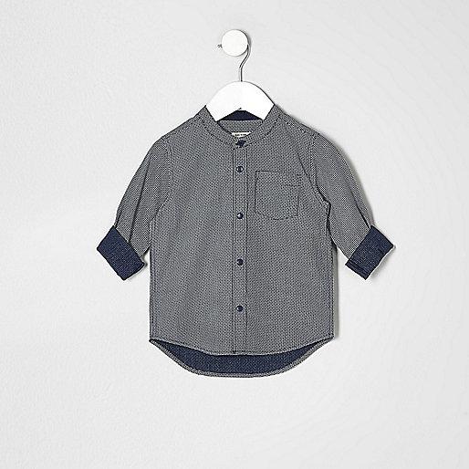 Mini boys navy textured grandad shirt