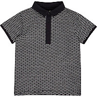 Mini boys navy jacquard polo