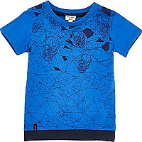 Mini boys blue skull print layered T-shirt