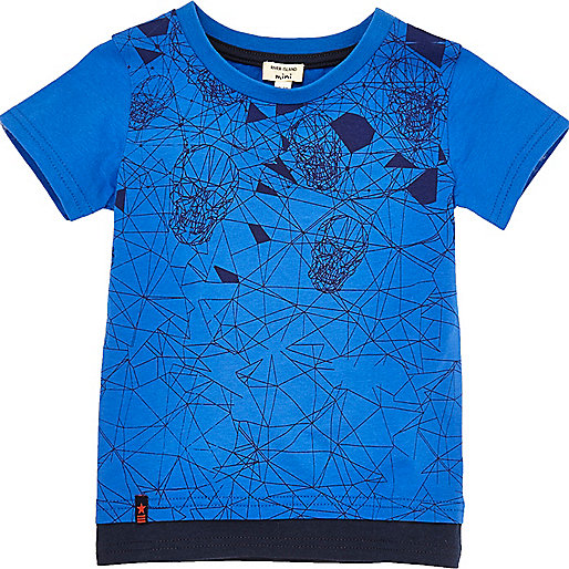 Mini boys blue skull print layered T-shirt
