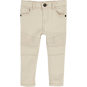 Mini boys white biker skinny jeans