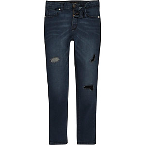 Boys blue rip and repair Sid skinny jeans