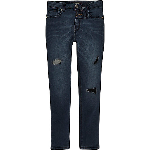 Boys blue rip and repair Sid skinny jeans