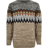 Boys grey zig zag crew neck sweater