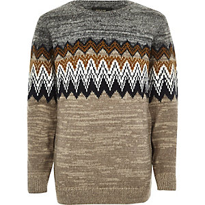 Boys grey zig zag crew neck jumper