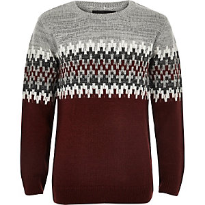 Boys red zig zag crew neck jumper