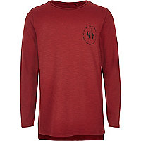 Boys red NY print T-shirt