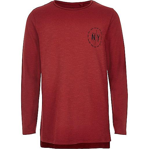 Boys red NY print T-shirt