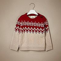 Mini boys red fairisle cashmere jumper