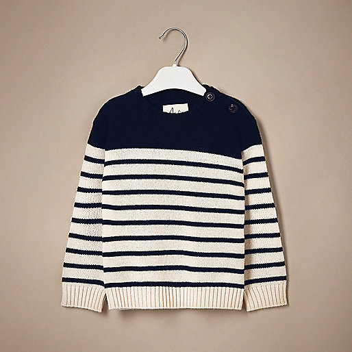 Mini boys navy stripe cashmere knit sweater