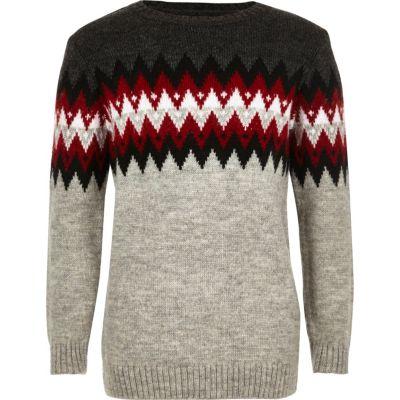 Grijze zigzag pullover voor jongens