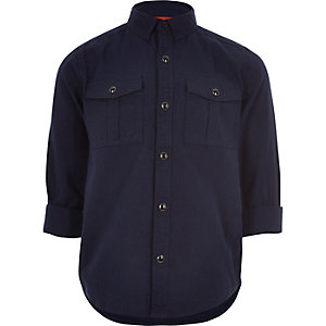 Boys dark navy military Oxford shirt