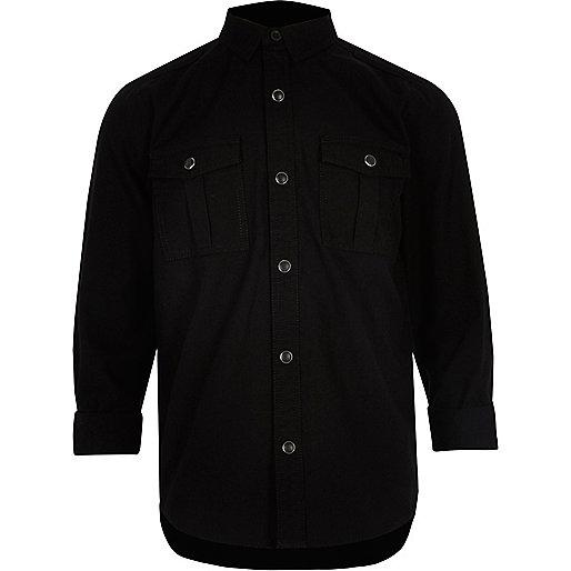 Boys black military Oxford shirt