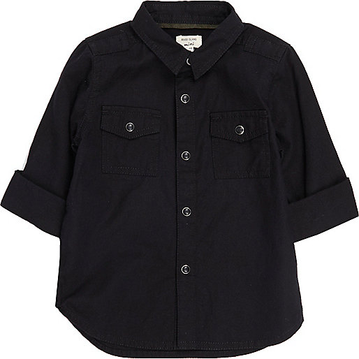Mini boys black military Oxford shirt