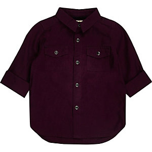 Mini boys burgundy Oxford shirt