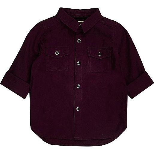 Mini boys burgundy Oxford shirt