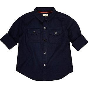 Chemise militaire bleu marine mini garçon