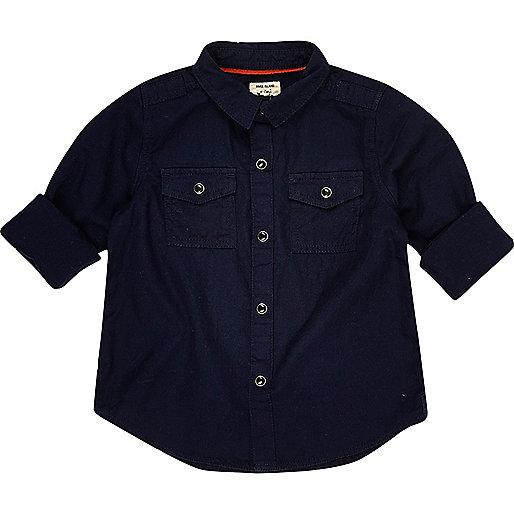 Mini boys navy military shirt