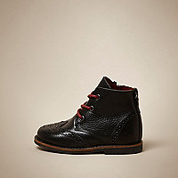 Mini boys black leather brogue boots
