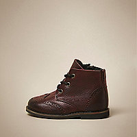 Mini boys red leather brogue boots