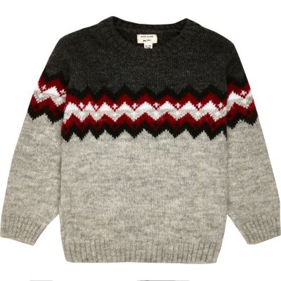 Grijze zigzag pullover voor mini boys