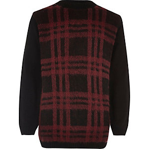 Boys red checked sweater