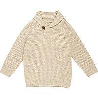 Mini boys cream knit shawl collar sweater