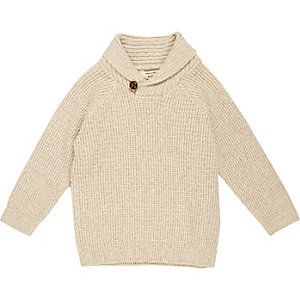 Mini boys cream knit shawl collar sweater