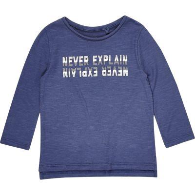 Blauw T-shirt met lange mouwen en print voor mini boys
