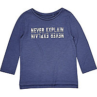 Mini boys blue print long sleeve T-shirt