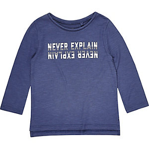 Mini boys blue print long sleeve T-shirt