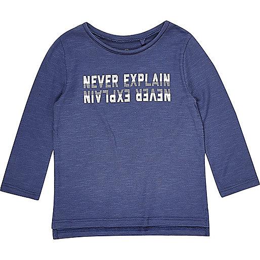 T-shirt bleu imprimé à manches longues mini garçon