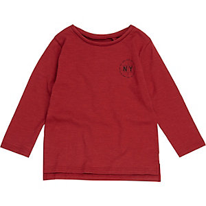 Mini boys red NY print long sleeve T-shirt