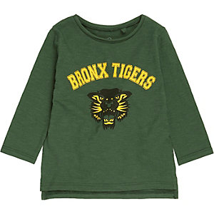 Mini boys green tiger logo sweatshirt