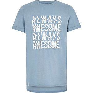 T-shirt avec inscription « Always awesome » bleu clair pour garçon