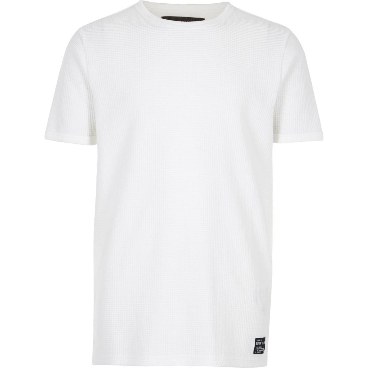 Boys white waffle short sleeve T-shirt