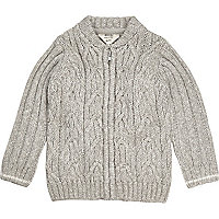 Mini boys grey cable knit bomber cardigan