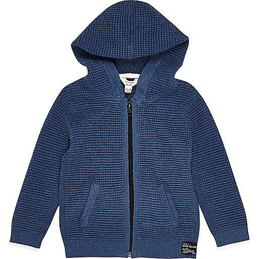 Mini boys blue textured hoodie