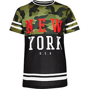 Boys khaki camo mesh T-shirt