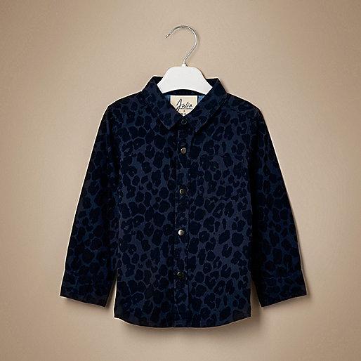 Marineblaues Hemd mit Leoprint