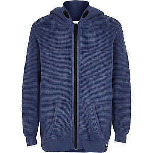 Boys blue textured knit zip hoodie