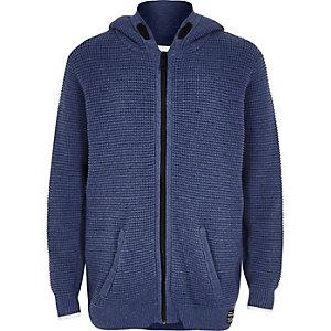 Sweat à capuche en maille texturée bleu zippé pour garçon