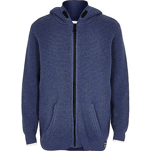 Boys blue textured knit zip hoodie
