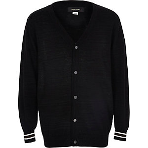 Boys black smart oversized cardigan